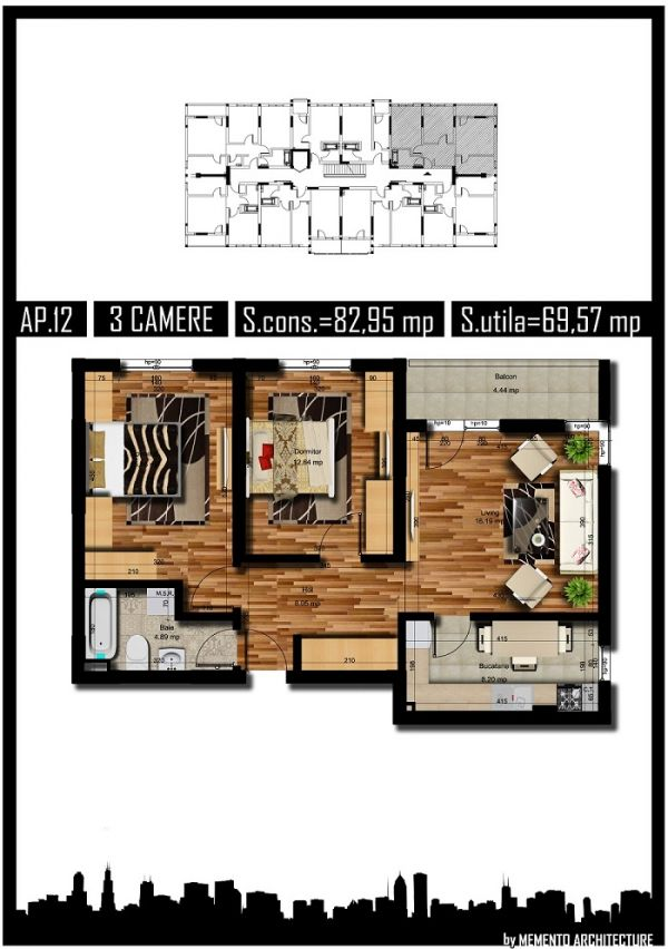 Apartament 3 camere, 70mp, Militari Auchan, decom
