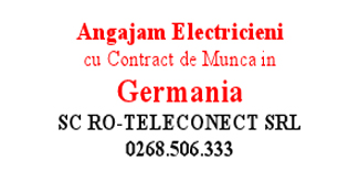 Angajam Electricieni cu Contract de Munca in Germania