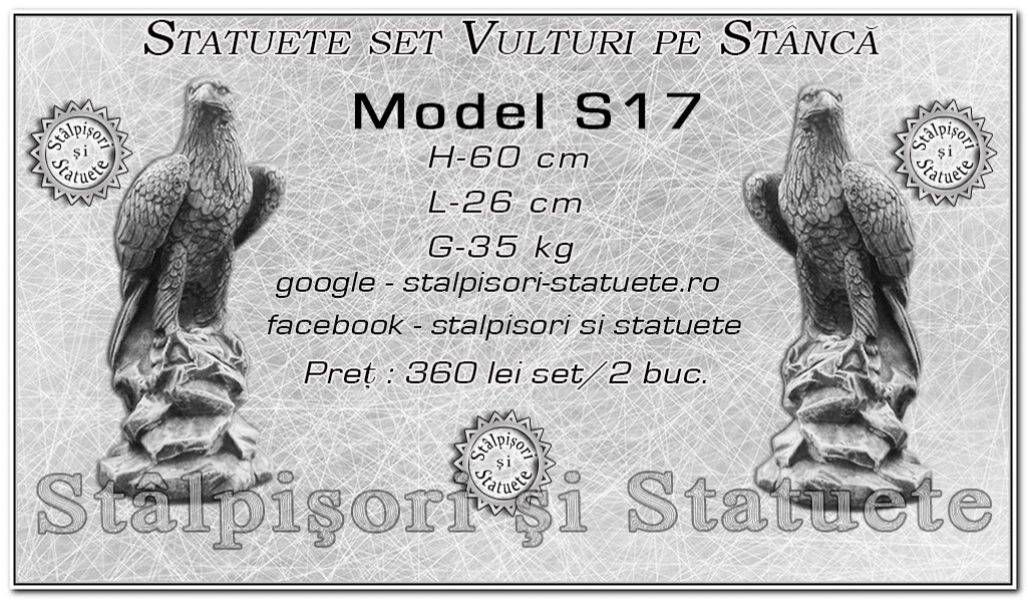 Statuete set vulturi din beton model S17.