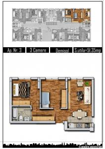 Apartament 3 camere, 51mp, decom, Militari Carrefour