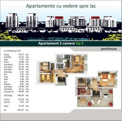 Floreasca - APARTAMENT IN BLOC - 5 CAMERE