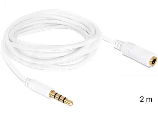Cablu prelungitor Audio Stereo Jack 3.5 mm tata/mama IPhone 4 pin 2 m - 84482