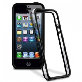 Bumper iPhone 5, 5S, Negru + Transparent