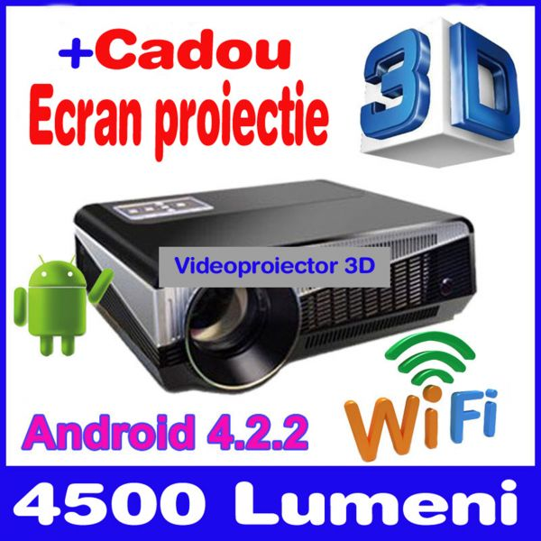 Videoproiector HD 3D cu Android 4.2, dual core, WiFi, HDMI