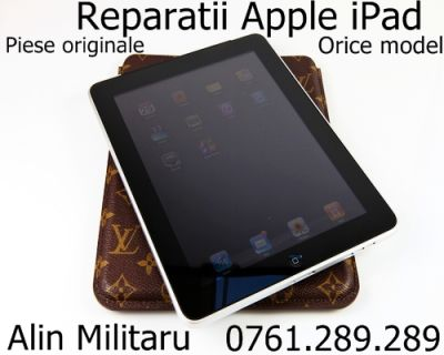 Reparatii + service iPad 3 si iPad 2 touchscreen ecran iPad 3 fisurat soc mecanic iPad 3 Apple