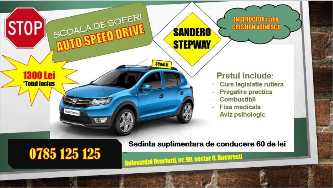 Instructor auto cat B, Sandero Stepway sector 6, 1300 lei totul inclus